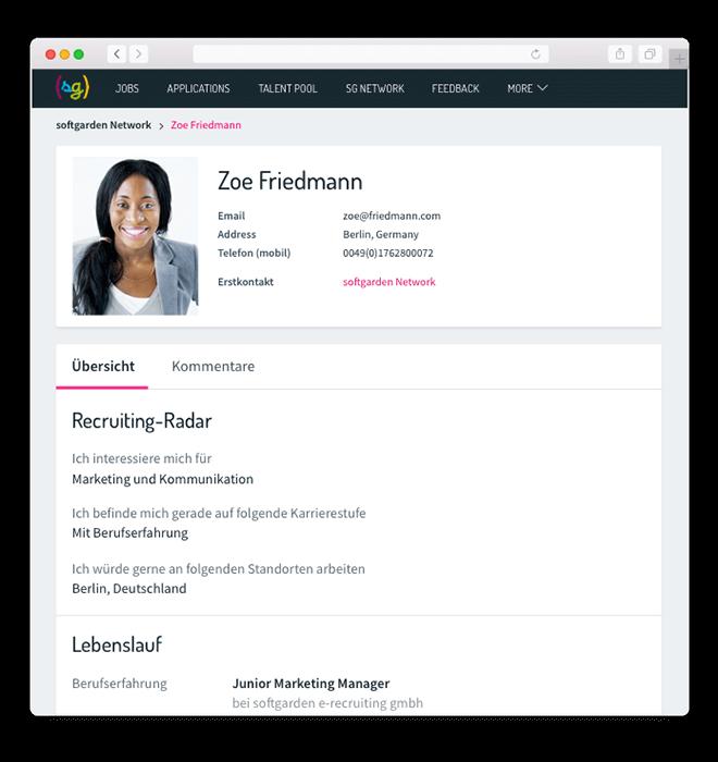 softgarden Talent Network - Kandidaten ansehen