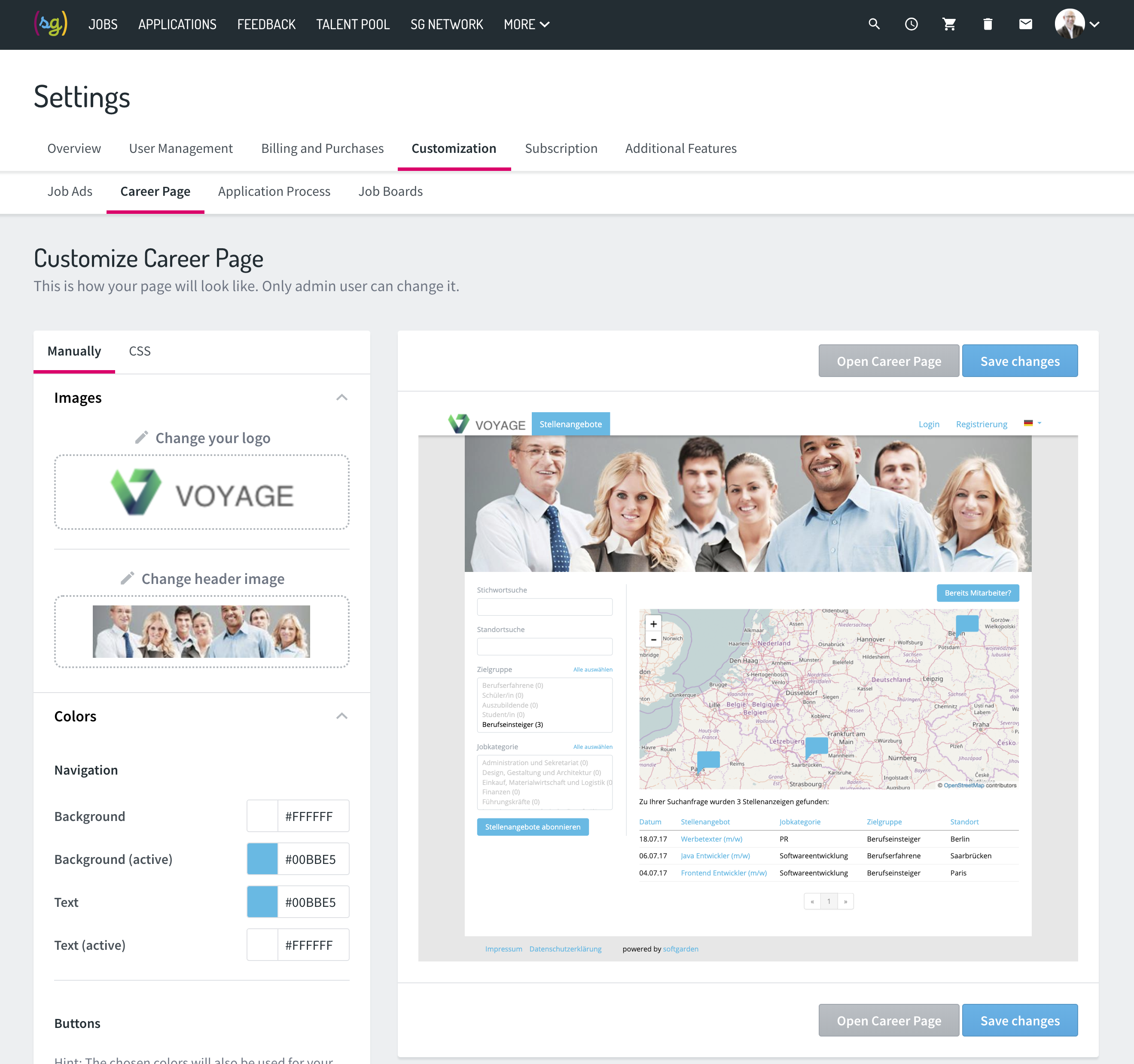 Configure your careers page with just a few clicks