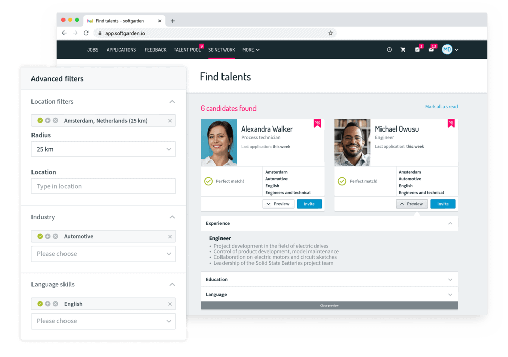Access to +4,000 new candidate profiles per month