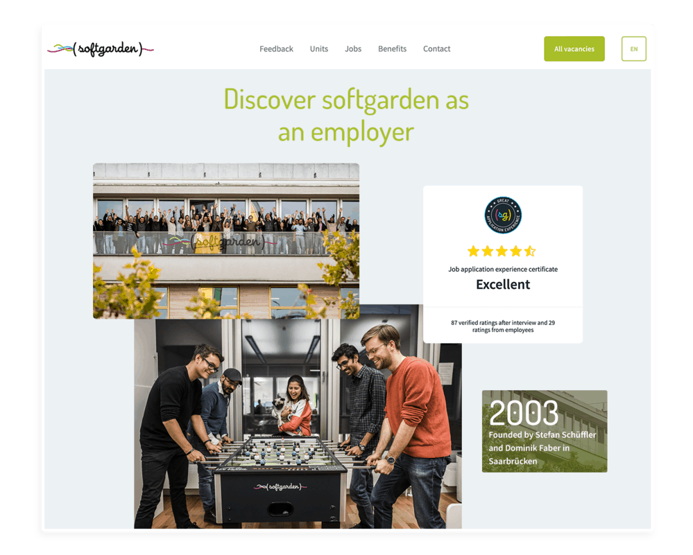 softgarden career page with authentic feedbacks
